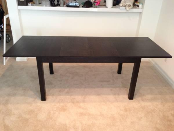 ikea bjursta dining table seats 6 8 black brown for sale in redwood city california. Black Bedroom Furniture Sets. Home Design Ideas