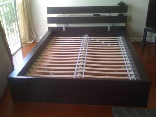 Ikea hopen bed frame full double size with slats and for Ikea slats vs box spring