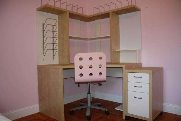 Ikea mikael corner workstation desk and separate matching for Palo alto ikea