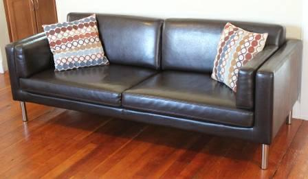 IKEA Sater Dark Brown Leather Sofa Couch 77 5 Long