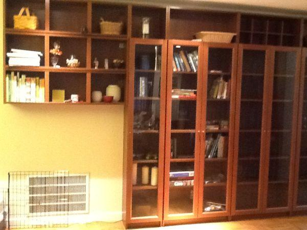 Ikea single billy glass front bookcase medium brown for Palo alto ikea