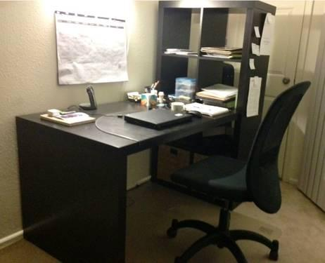 Ikea study table with bookcase chair vinyl flooring for Study table and chair ikea