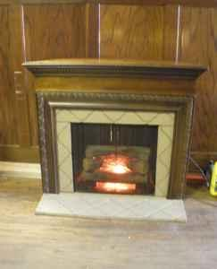 Indoor Electric Fireplace and Mantle for the corner.
