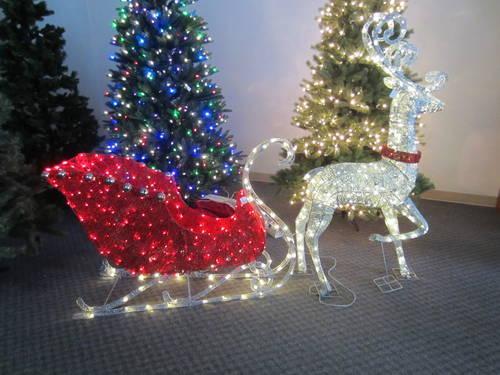 Indoor outdoor led santa sleigh amp reindeer for sale in seattle
