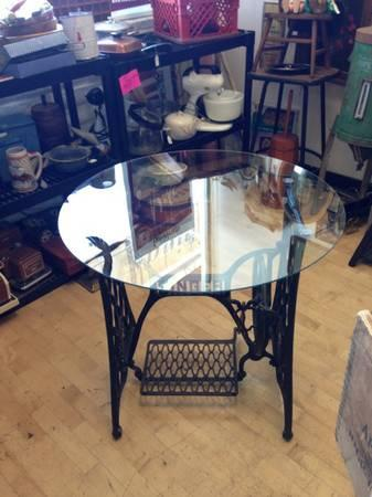 Industrial Glass Top Table Singer Sewing Machine Treadle Base For Inspiration Sewing Machine Treadle Base