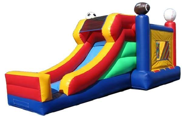 Inflatable bounce house and slide -