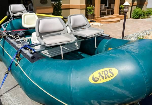Inflatable raft, rowing frame, trailer - $5900