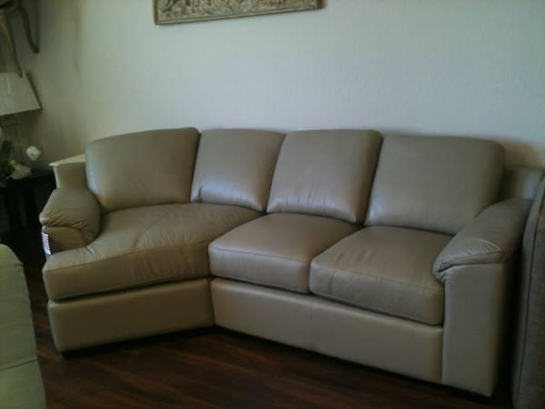 Italian Leather Sectional With Cuddle Chaise For Sale In