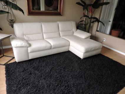 Italsofa Two Piece Cream Leather Sectional Sofa