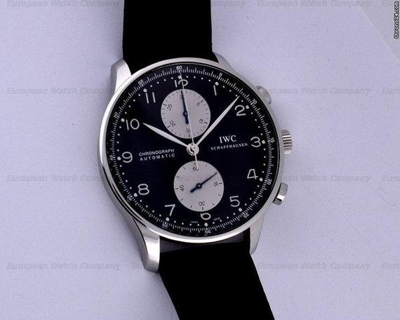 iwc portuguese chronograph black silver dial for sale in