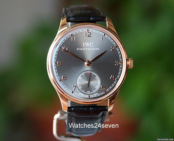 IWC Portuguese Hand Wound Rose Gold Ardoise Dial 44mm