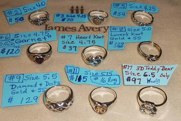 James Avery Current Amp Retired Rings By Sizes For Sale In