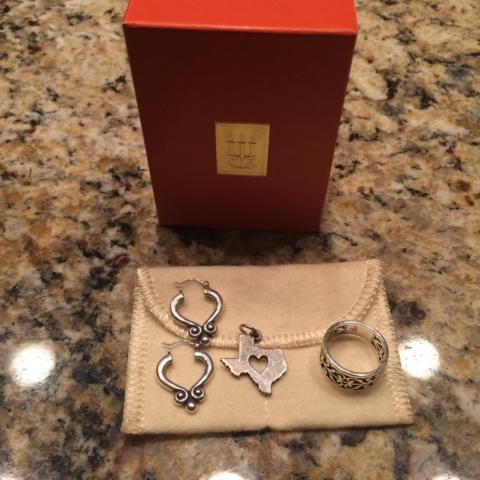 James Avery-earrings, charm and ring