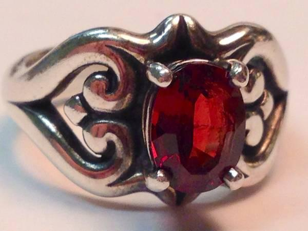 James Avery Retired Scrolled Heart Silver & Garnet Ring, Size 5 5 - $100