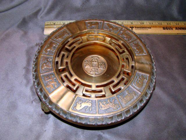 JAPANESE BRASS HIBACHI ASH TRAY GRILL BOWL VINTAGE COLLECTIBLE