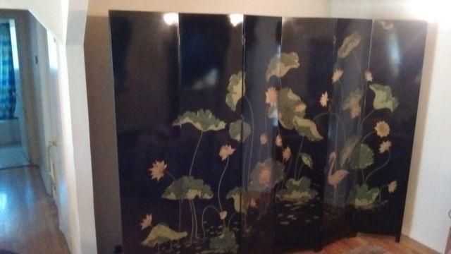 Japanese Wooden Folding Screen- 6 Panels