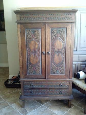 Superbe Javanese Hand Carved Wood Cabinet Pier 1   $100