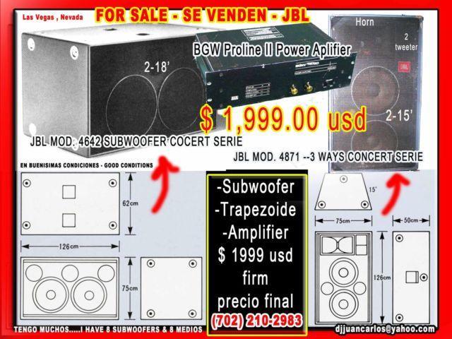 jbl subwoofer -vocinas-bajos-for sale...medios, amplifier, trapezoide
