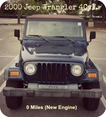 jeep wrangler 2 5l 4cyl manual 5 speed transmission new engine for sale in miami florida. Black Bedroom Furniture Sets. Home Design Ideas