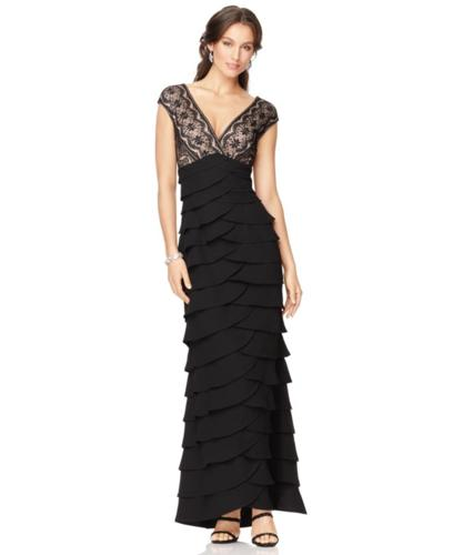 Jessica Howard Cap-Sleeve Lace Tiered Gown
