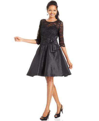 Jessica Howard Dress Three Quarter Sleeve Illusion Lace A