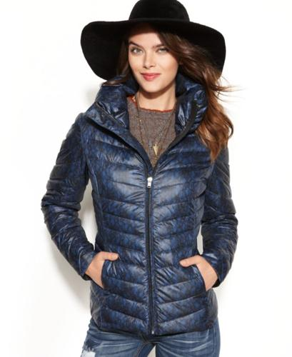 Jessica Simpson Coat Lace Print Quilted Down Packable