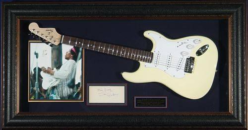 Jimi Hendrix Genuine Autograph Framed With Fender Guitar