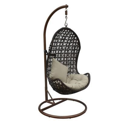 JLIP Brown Rattan Patio Swing Chair With Stand And Beige Cushions For Sale In