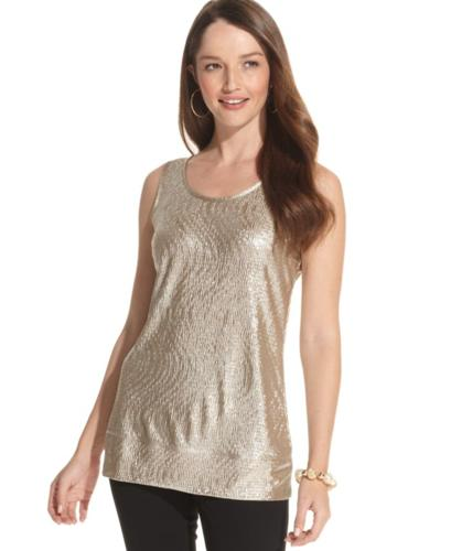 JM Collection Sleeveless Metallic Shell