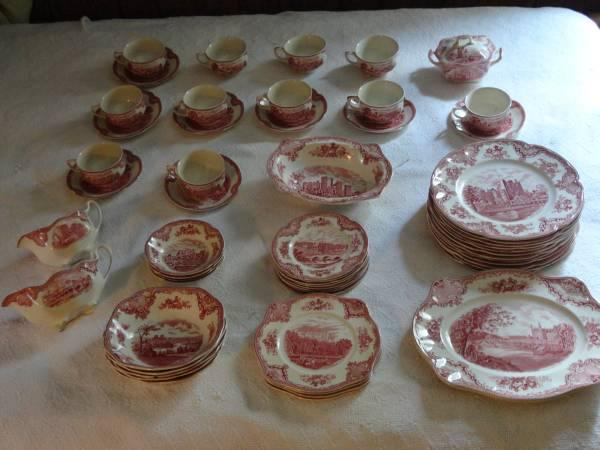 Johnson Brothers England Old Britain Castles Pink 58 & Johnson Brothers England Old Britain Castles Pink 58 piece Set - for ...