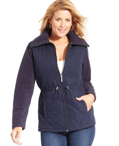 Karen Scott Long-Sleeve Quilted Fleece Jacket