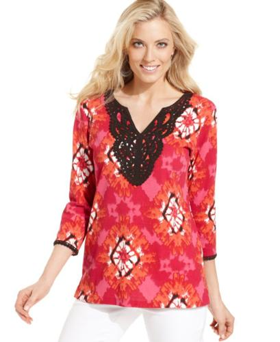 Karen Scott Three-Quarter-Sleeve Printed Crochet Tunic