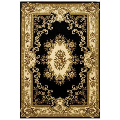 Kas Rugs Elegant Aubusson Black 2 ft. 3 in. x 3 ft. 3 in. Area Rug