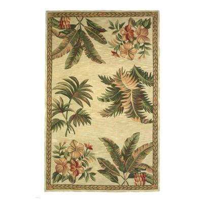 Kas Rugs Tropical Motif Ivory 5 ft. 3 in. x 8 ft. 3 in. Area Rug