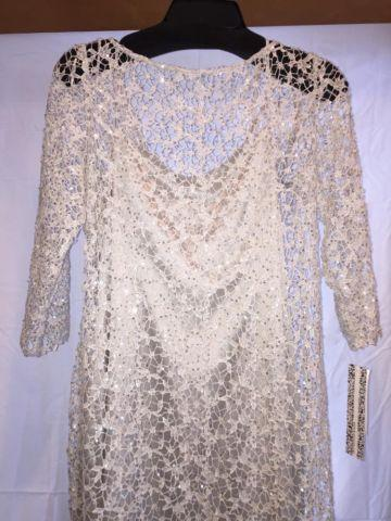 Kay Unger Sequined Lace Sheath Dress, Silver