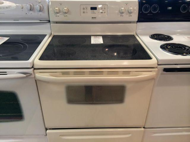 Kenmore Bisque Smooth Glass Top Range Stove Oven Used