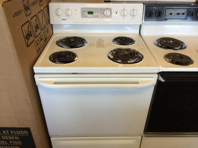 Electric Coil Stove ~ Kenmore white electric coil burner range stove oven used