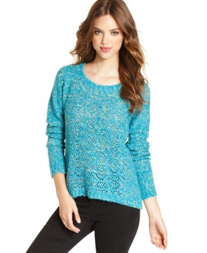 Kensie Sweater, Long-Sleeve Scoop-Neck Open-Stitch Top