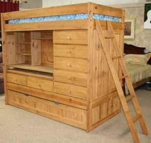 Kid S Twin Loft Bed W Trundle Desk Dresser Storage Mattress