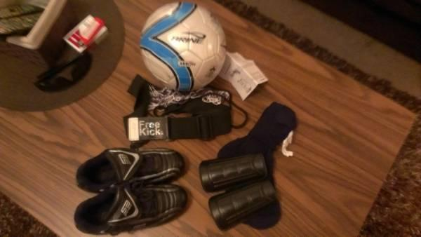 Kids Soccer ball 3, Free Kick Trainer, Size 1 Cleats  Shin Guards - $30
