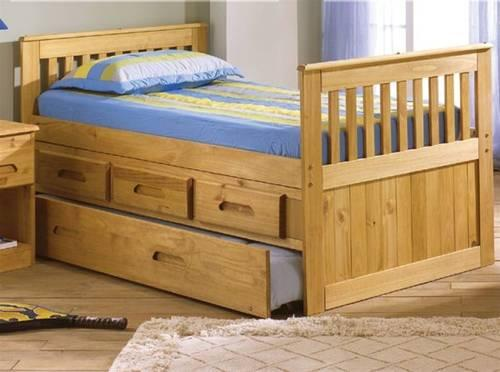 Kids twin size captains bed with storage drawers trundle for Kids twin bed with drawers