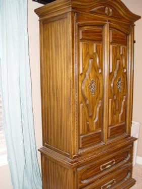 King size bedroom set headboard dresser armoire night stand for sale in claremore oklahoma for King size bedroom sets with armoire