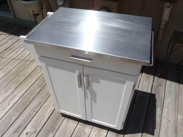 Kitchen Island Cart Cabinet Stainless Top White Wheels