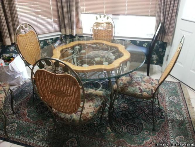 Kitchen Table Set Wrought Iron Wicker 48