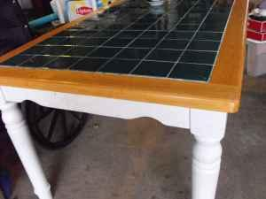 Kitchen Table White With Maple And Green Tile Top