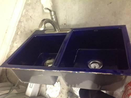 Kohler colbolt blue kitchen sink perfect condition for Sale in ...