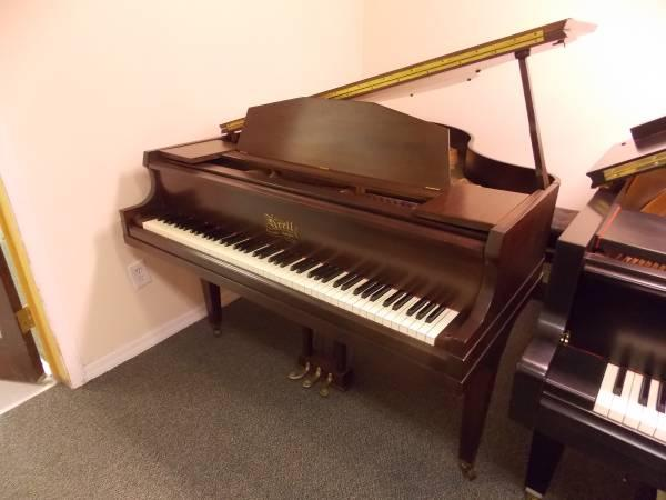 Krell baby grand piano 5 39 satin walnut finish with 1 year for How big is a baby grand piano