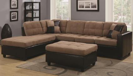 L shape fabric sectional with free ottoman for sale in las for Furniture of america las vegas