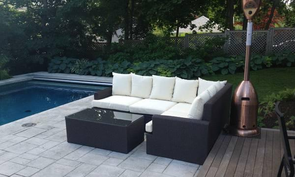 L Shaped Rattan Outdoor Sectional Couch 96 By 68 Inches