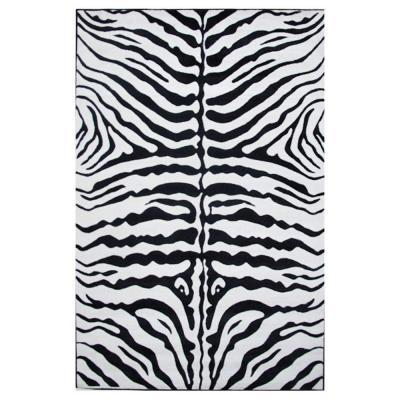 LA Rug Inc Supreme Zebra Skin Black and White 7 ft. 10 in. x 11 ft. 3 in. Area Rug